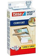 tesa Insect Stop Comfort Vliegenhor voor Dakramen - Insectenhor, raamhor - Met klittenband - Voor schuine ramen - Snij op maat - Muggenhor, 120 cm x 140 cm
