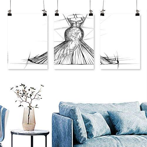 (SCOCICI1588 3-Piece Home Decoration Classic Woman Night Dress Stylish Model Bridal Wedding Outfit Sketch Print Grey White to Hang for Living Room No Frame 24 INCH X 47 INCH X)