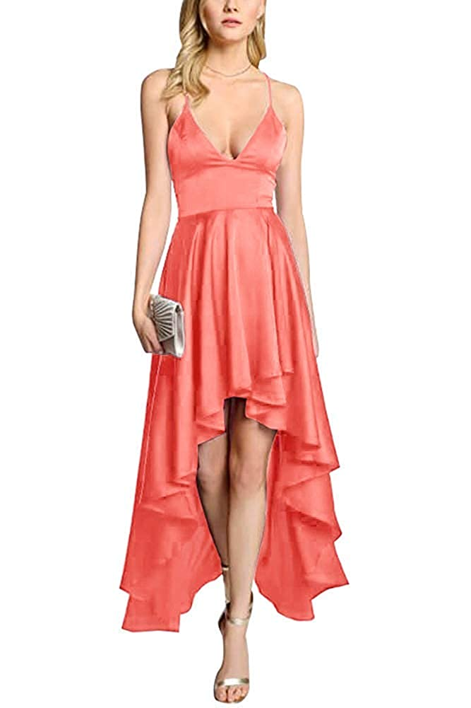 Coral ZLQQ Women's Spaghetti Strap Prom Dresses HiLo VNeck Bridesmaid Dress Short Formal Evening Gown