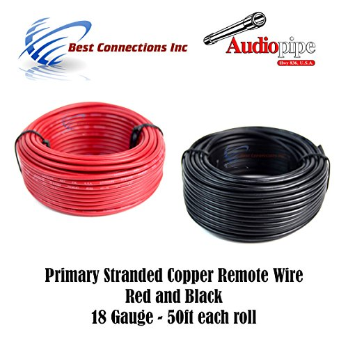 18 GAUGE WIRE RED BLACK POWER GROUND 50 FT EACH PRIMARY STRANDED COPPER CLAD (Red Ground Wire)