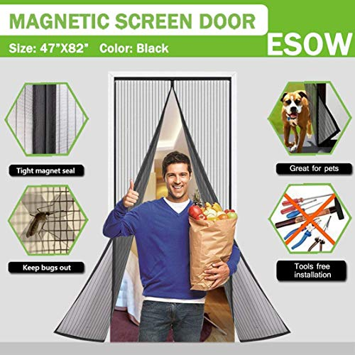 ESOW Premium Magnetic Screen Door Tough and Compact Mesh with Sewn In FULL LENGTH Adhesive Strip & Hidden Magnets Open and Close Instantly and Quietly No gap No Falling,Screen Size ()