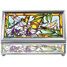 Amia Beveled Glass Rectangular Jewelry Box, Hand Painted Dragonfly Design, 5-Inch by 2-Inch by 3-Inch