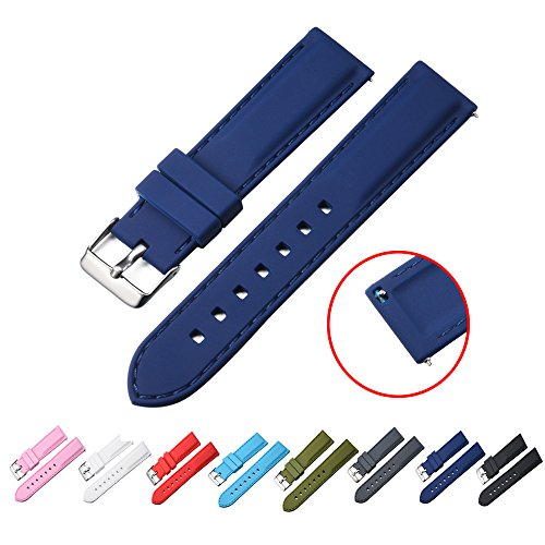 STYLELOVER Quick Release Silicone Watch Bands, Premium Soft Rubber Watch Straps for Men or Women 20mm 22mm(22mm,Navy Blue) (Mm Soft 22 Rubber)