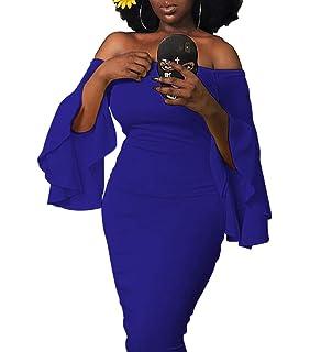 346c6b94b Molisry Women Off Shoulder Ruffle Long Sleeve Bodycon Party Midi Dress