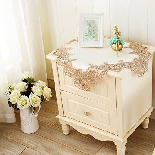 Exceptional QXFSMILE Embroidered Table Cover Square Lace Tablecloth Unique Wedding  Decoration,22 By 22 Inch,White Tablecloth With Coffee Lace
