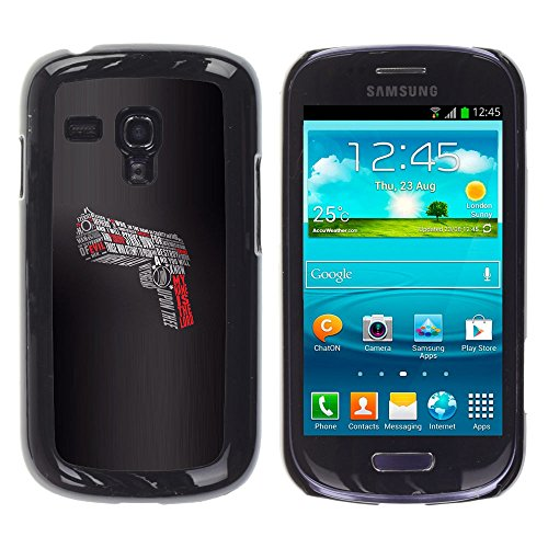 STPlus English Quotes Words Gun Pistol Hard Cover Case for Samsung Galaxy S3 Mini