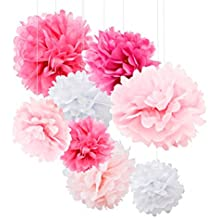 Tissue Paper Pom Poms - 18pcs Tissue Paper Flowers - Add Color To Your Party With These Pink Party Decorations - Tissue Pom Poms Are Best For Baby Shower & Wedding - Pink Paper Pom Poms