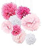 18pcs Tissue Paper Flowers - Pink Party Decorations - Tissue Paper Pom Poms For Baby Shower, Wedding, Birthday - Paper Pom Pom Set