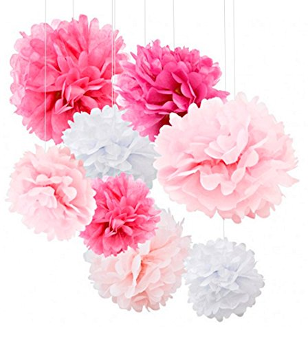 Tissue Paper Pom Poms  18pcs Tissue Paper Flowers  Add Color To Your Party With These Pink Party Decorations  Tissue Pom Poms Are Best For Baby Shower amp Wedding  Pink Paper Pom Poms