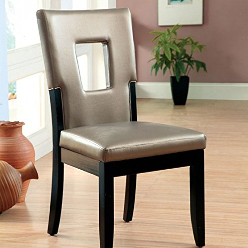 Evant I Contemporary Style Set of 2 Side Chair in Padded Seat and Back Keyhole - Keyhole Side Chair