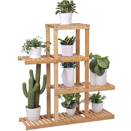 SONGMICS Bamboo Wood Plant Display Rack, Stand Shelf, Flower Pots Holder, 4 Tier Utility Shelving Standing Unit Storage Organizer Rack for Living Room Balcony Hallway Bathroom UBCB91N