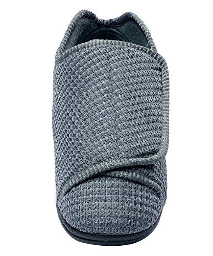 Heren Extra Extra Brede Slippers Met Verstelbare Sluitingen - Gezwollen Voeten - Diabetische & Oedeem Staal