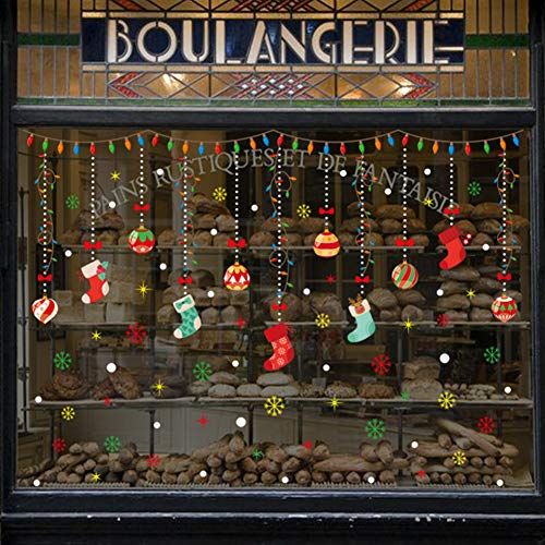 LONGTEN Merry Christmas Sticker Santa Claus Window Clings Decoration Christmas Tree Shop Mall Window Glass Wall Sticker Reindeer Christmas Snowman Snowflake Window Static Sticker Self-Adhesive (N)