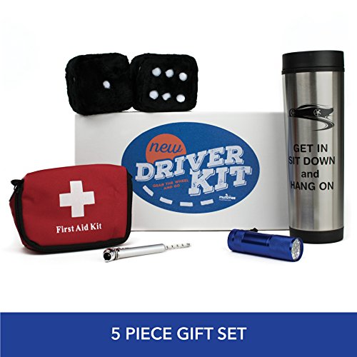 Dice Mug (Muttmee - New Driver Gift Set - Fuzzy Dice - Car Travel Mug - Tire Gauge Key Chain with Fun Accessories -Congratulate Teen Boys or Girls on their Drivers License)