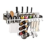 304 Stainless Steel Kitchen Racks Wall-Mounted Wall Space-Saving Condiment Hanging Basket Kitchen Knife Storage Rack with Three Chopsticks Tubes (Size : 80cm)