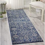 Nourison Somerset ST57 Traditional Rustic Vintage Navy Blue Area Rug 2 Feet 3 Inches by 8 Feet, 2'3″ x 8′ For Sale