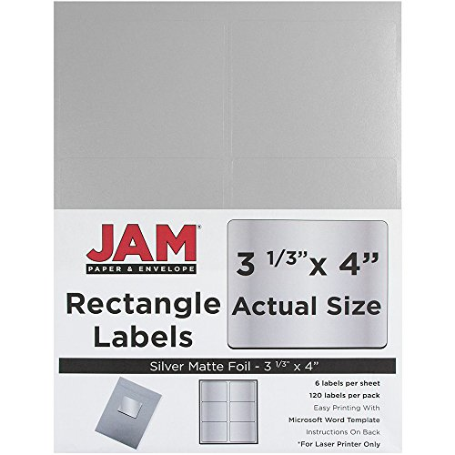 Colored Labels Shipping - JAM PAPER Shipping Address Labels - Large - 3 1/3 x 4 - Metallic Silver - 120/Pack