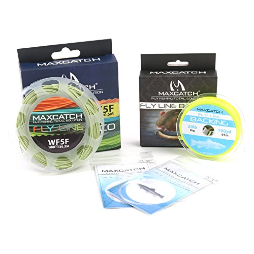 Maxcatch Fly Line Combo Pack: ECO Floating Fly Line, Backing, and Tapered Leader (Moss Green, WF7F)