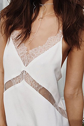 Mujeres sin mangas con cuello en V Backless Lace Slip Party Dress White