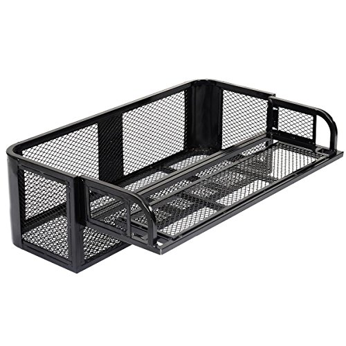 Goplus ATV UTV Universal Rear Drop Basket Rack Detachable Steel Luggage Cargo Steel Mesh Surface ()