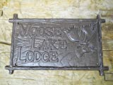 Cast Iron Moose Lake Lodge Plaque Sign Rustic Ranch Wall Decor Cabin Deer