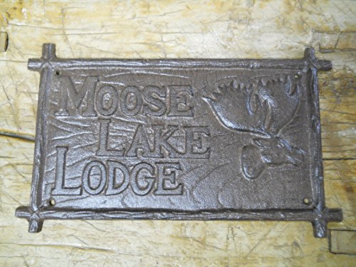 Cast Iron Moose Lake Lodge Plaque Sign Rustic Ranch Wall Decor Cabin Deer by Rustic D?cor