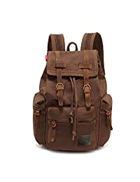 IRuipai 17 inch Canvas Laptop Backpack Unisex Vintage Leather Casual School College Bags Bookbag Hiking Travel Rucksack Business Daypack (L-Coffee)