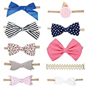 Parker Baby Co. Girl Headbands and Bows, Assorted 10 Pack of Hair Accessories for Girls