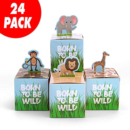 Adorox Small 24 Pcs Born to Be Wild Adorable Jungle Safari Zoo Theme Baby Shower Favor Candy Treat Box Cute Birthday Decoration (Assorted)