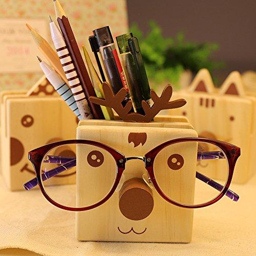 Flee Mltifuction Pen Holder Wooden Desktop Organizer Glasses Eyeglass Holder most Style of Eyewears-Great Gift (Deer)