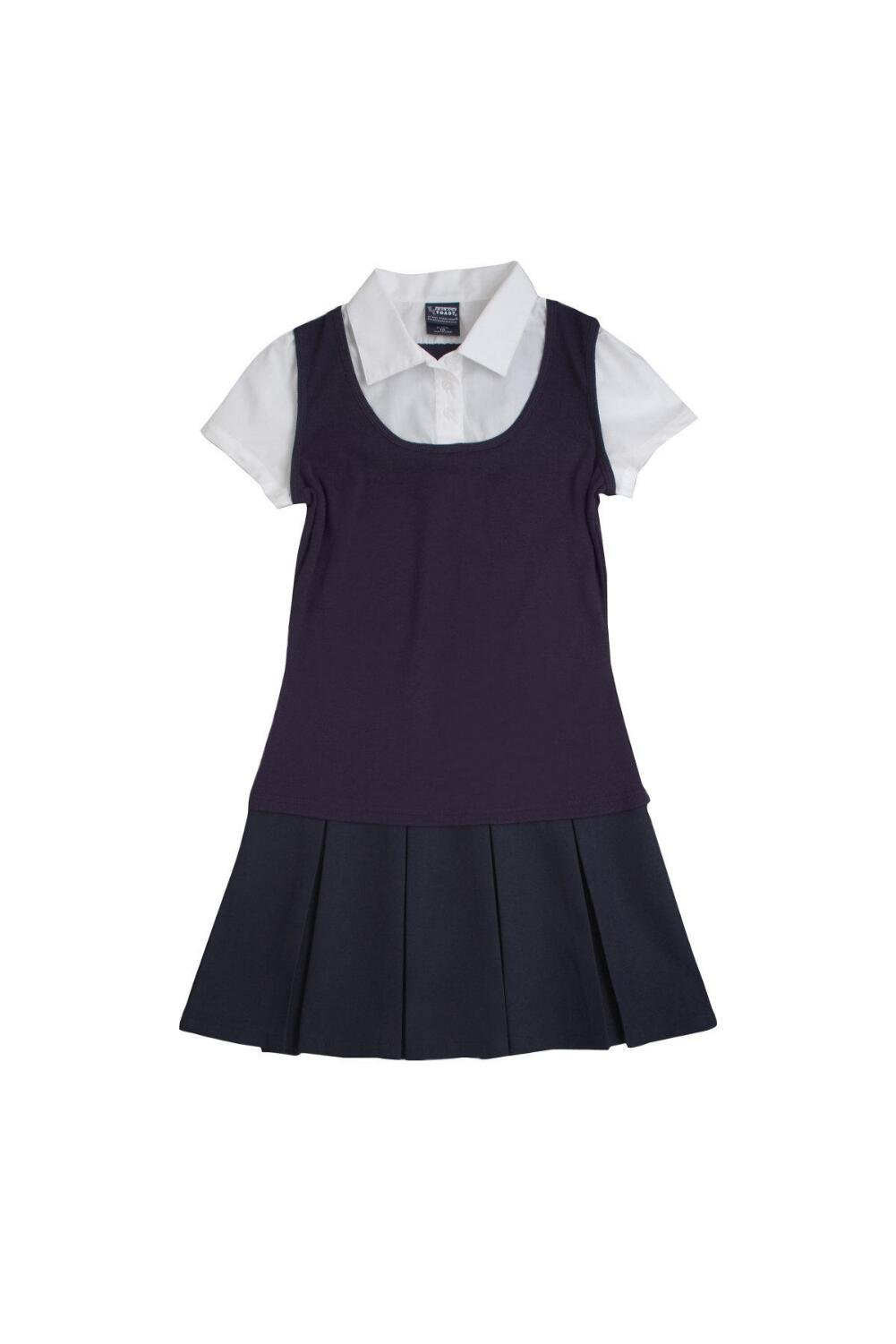 French Toast Little Girls' 2-Fer Pleated Dress, Navy, 5