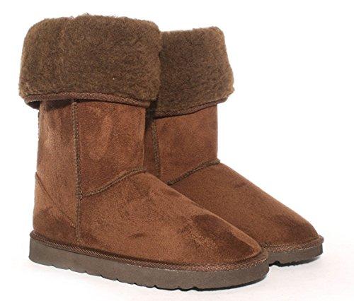 Ella 3 Brown boots UK warm winter fur Faux