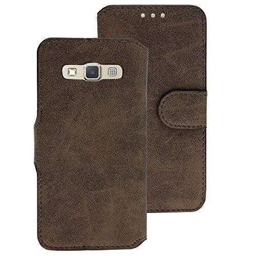 Handy Schutz Tasche Geldbeutel Hülle Flip Case Samsung Galaxy A3 2014-2015 Braun
