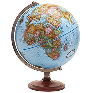 Replogle Globes Pasco 12-inch Diameter Political Landmass and Blue Oceans Raised Relief Desktop Globe with Numbered Semi-Meridian and Classic Wood Base (Blue Oceans)