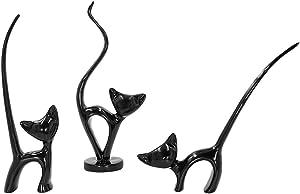 DreamsEden Resin Cats Family Figurines - Lovely Kitten Shelf Decor Art Ornament, Set of 3 (Black)