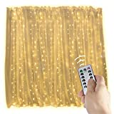 20 Ft. LED Curtain Icicle Lights with Remote & Timer, 600-LED Fairy Twinkle String Lights with 8 Light Modes Fits for Bedroom Window Wedding Party Backdrop Outdoor Indoor Wall Decoration, Warm White