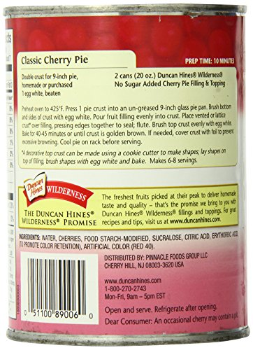 Wilderness No Sugar Added Pie Filling & Topping, Cherry, 20 Ounce (Pack of 12) by Wilderness (Image #4)'