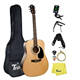 Trendy Acoustic Guitar 41inch Steel String Acoustic Guitar Kit Bundle with Gig Bag, Tuner, Strings, Guitar Hanger, Picks, Capo and Polishing Cloth (41inch Acoustic Guitar-Natural)