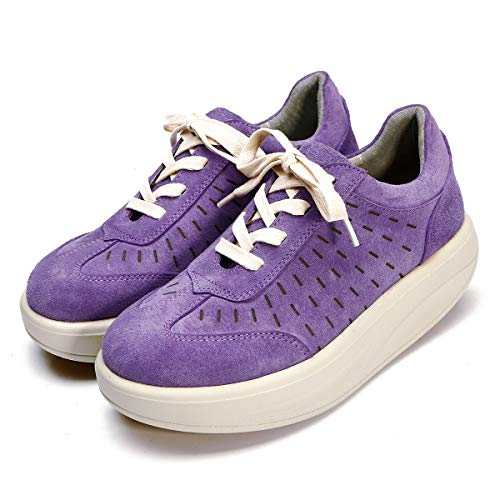 Schuhe Creepers Leder Schnürschuhe Platform Damen RoseG Violett nwaRxq