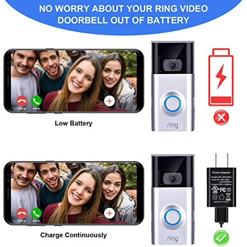 16 ft 5 m Charge Cable with DC Power Adapter Compatible with Ring Video Doorbell 1 2 Continuously Charging No Need to Change the Batteries for Ring Doorbell 1