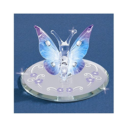 Blue Butterfly w/Crystals Glass Figurine ()