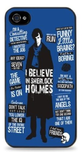 Sherlock Holmes Blue - Black Hard Case for iPhone 5 / 5S - - Time Shipping Estimate Usps