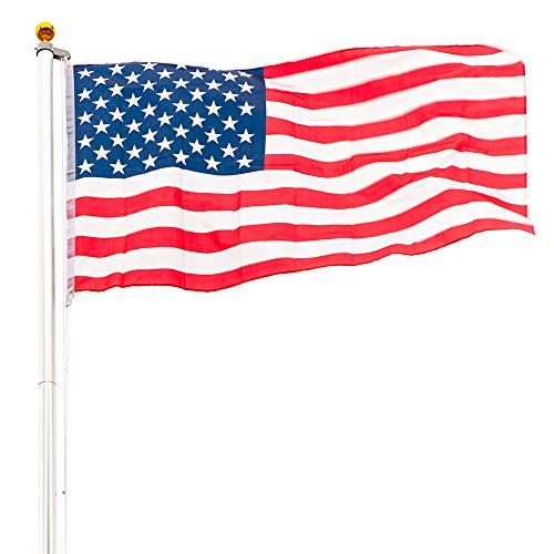 VINGLI Upgraded Heavy Duty Flagpole,with 3'x5' US Flag Golden Ball Top Kit Halyard Rope PVC Sleeve, Flag Pole for Residential Commercial Outdoors Décor (Sectional 25FT (6 (Pvc Ground Sleeve)