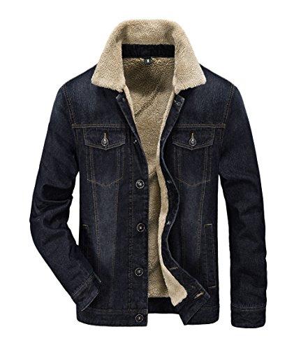 Sherpa Trucker Jacket (JYG Men's Sherpa Lined Denim Jacket (US Large, Black-9757))