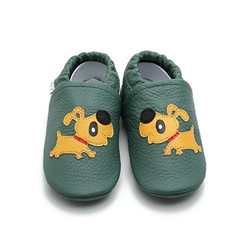 Liyas - Zapatillas de estar por casa de Piel para niño Verde opalgrün opalgrün