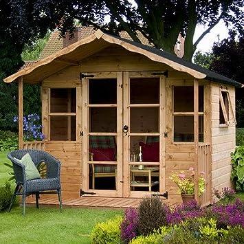 12, 5 cm W x 8 cm D cobertizo de madera lugar de descanso/LOG CABIN: Amazon.es: Jardín