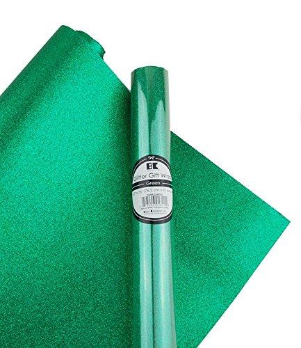 Best Creation Glitter Gift Wrap, 30 x 36-Inch, Green