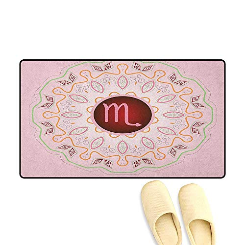 zojihouse Zodiac Scorpio Customize Door mats for Home Astrology Theme Sign on an Ornate Oriental Mandala Figure with Pink Backdrop Size:16