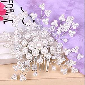 Women's Pearl FLower Hair Combs Headpieces,White
