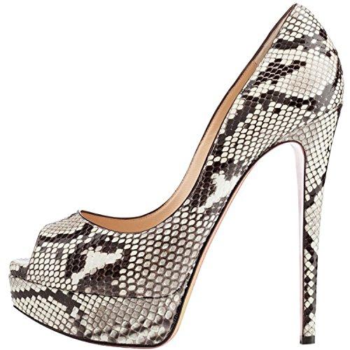 ELASHE Women High Heels Platform Pumps   15cm Peep Toe Stiletto   3cm Platform Classic Court Shoes Python bJsHkl